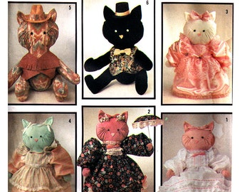 "Simplicity Sewing Pattern 7205 Stuffed KItty / Cats and Clothes - 18"" HIgh  Uncut"