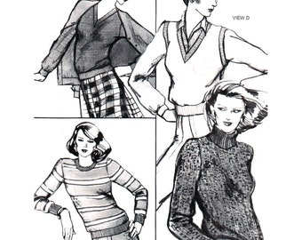 Stretch & Sew Sewing Pattern 638 Pullover Tops  Size:  28-44  Uncut