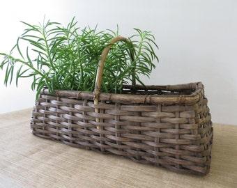 Vintage Rustic Basket with Bentwood Handle - Rectangular