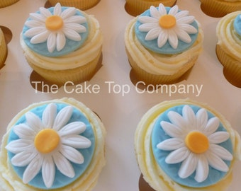 Daisy Flower Cupcake Toppers  - birthday, baby shower, christening