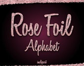 Rose Gold Foil Alphabet Clipart. Crumpled gold foil letters, numbers, symbols clip art. Instant digital download. PNG format. Business use.