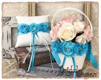 Turquoise Flower Girl Basket Set, Ring Bearer Pillow, Flower Girl Basket Set Wedding Pillow, Wedding garter set
