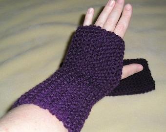 Dark Purple Mitts, winter accessories, knit, winter mitts, fingerless gloves, hand warmers, handmade, driving gloves