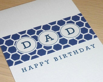 Modern DAD Happy Birthday card - males, fathers, daddy, pop, grandpa - handmade greeting card