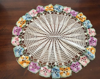 Pansy Crocheted Oval Doily