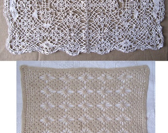 Vintage 2 Doilies lace cotton off-white