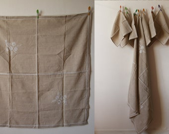 Vintage Table cloth ladder hemstich + 6 table napkins linen embroidered