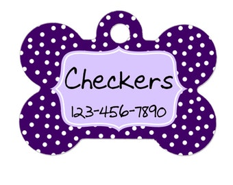 Personalized Dog Tag - Dog ID Tag - Purple Dots Personalized Bone Dog Tag - Custom Pet ID Tag