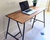 48x20 Rustic Desk, Rustic Table, Vanity Table, Wood Desk, Mock Reclaimed Wood Table, Small Dining, Hand-Finished Desk on Ikea Legs