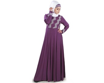 MyBatua Ruksha Rayon New Look Beautifull Abaya Jalabiya Muslim Woman  Kaftan Clothing Maxi Long Purple Gown Oversized Dress AY-431