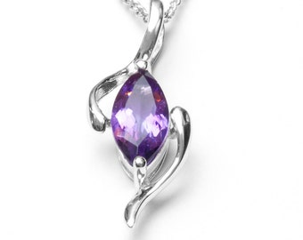 Silver Pendant, Sterling Silver, Purple Amethyst Pendant, Sterling Silver Pendant, Purple Amethyst, 925 Silver Pendant, Gift for Her