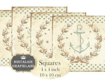 Nautical Maritim Coaster Squares 4 x 4 inch Anchor Seahorse Nautique Blocks Download Printable Digital Collage Sheet TG106