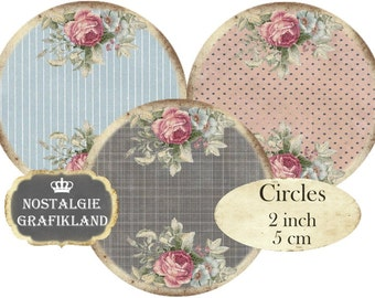 Background Circles 2 inch Shabby Chic Rose Dots Stripes Checked Instant Download digital collage sheet C280
