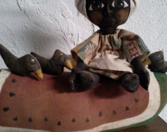 Primitive Watermelon  - Black Folk Art Doll and Crows