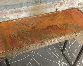 Copper entryway table
