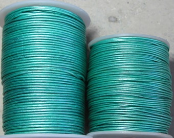 new color- 1.8mm metallic teal leather- 25 meters/81.25 feet