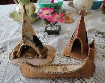 3 Early Souvenirs, Birch Bark Canoe, Tee Pee Made In Canada and One Souvenir Tee Pee