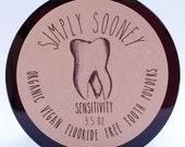 3.5oz Jar for SENSITIVITY Organic Vegan Fluoride Free Remineralizing Tooth Powder 100 grams 3-6 months supply