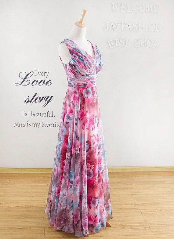 Sleeveless prom dress,colorful long evening dress,fashion bridesmaid dress,chiffon prom dress,Long party dress,cocktail dress evening dress