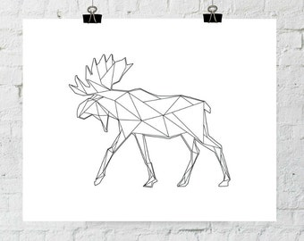 Antler Art, Moose Antlers, Wall Art, Wall Antlers, Black and White, Modern Art, Moose Wall Art, Moose Print, Triangle Geometric Art, Prints