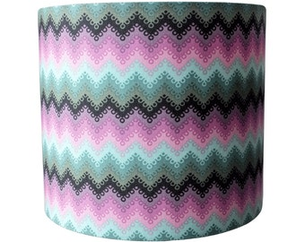 Tula Pink zig zag (dusk)  UK/EU/US lampshade pendant (ceiling) or table lamp fitting