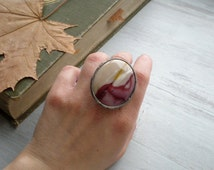 Statement ring large ring stone ring retro stone ring metalwork natural MOKAITE amazing stone handmade jewelry AWillam