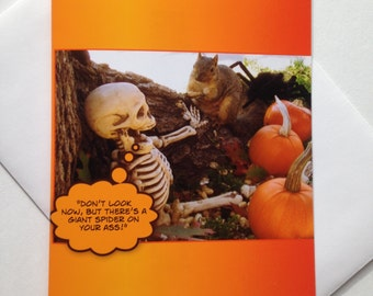 Funny Halloween Card - Funny Squirrel Card - Funny Skeleton Card - Fall Card