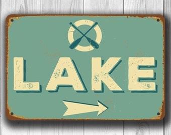 CUSTOM LAKE SIGN, Vintage style Lake Sign, Lake Arrow Sign, Lake House Decor, Lake House Gift, Lake House Sign, Lake Decor, Lake Sign, Lake