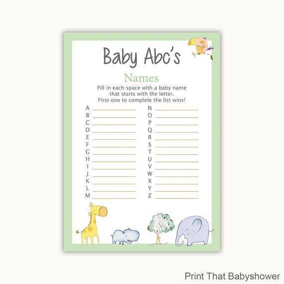 baby shower games abc baby name game jungle zoo baby shower