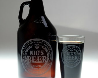 Personalized Beer Names Growler and 1 Beer Pint Glasses set , home brew gift , homebrew , beer gift , personalized gift , dad gift