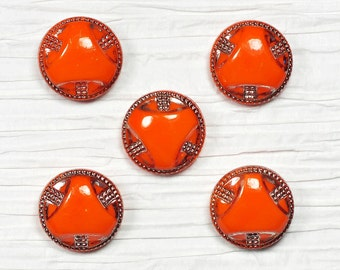 Set of 5 Art Deco Orange Glass Buttons with Silver Detail ~ 18mm