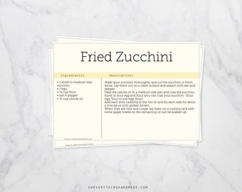 Editable Recipe Card, 4x6 card, downloadable PDF, yellow backgrounds