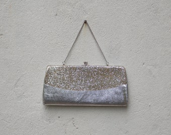 Vintage Silver Handbag Purse Clutch with Optional Chain