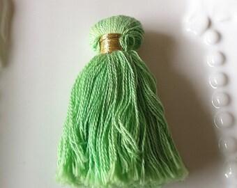 Tassels-Thick Tassels- Green Cotton Tassels-Artisan Tassels-Handmade Tassels-Accessories-DIY Jewelry Tassels-2 Inches-Celestial Luxuries