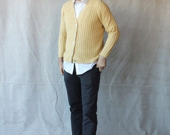 FABULOUS 50% off SALE 80's Gatsby Style Creamy Mustard Yellow Cardigan Sweater by REAL Clothes Saks Fifth Avenue