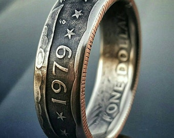 Handcrafted Susan B. Anthony Dollar Coin Ring (1979 ONLY) (Clad)