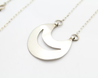 """Double Crescent Pendant in Sterling Silver on 16"""" Integrated Chain. [9725]"""