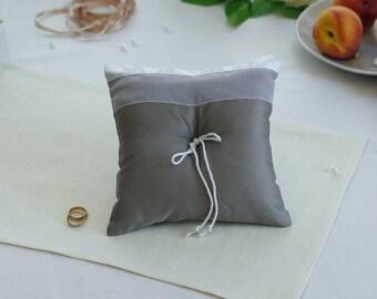 Gray Satin Cotton Wedding Ring Pillow , Ring Bearer Pillow , Wedding Pillow Decorations,