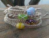Bracelet Stacks, Hemp Bracelets, Friendship Bracelets, Adjustable Slip Knot, Antique Beads, Minimalist, Style, Gift for Friends, Girls