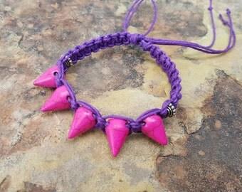 SALE ITEM, Hemp Bracelet, Festival Jewelry, Bracelet, Pink Spikes, Adjustable Bracelet, Slip Knot, Neon Pink, Spike Bracelet, Gift for Her