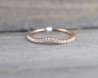 14k Rose Gold V Groove Curve Dainty Thin Diamond Wedding Engagement Band Brilliant Cut Ring