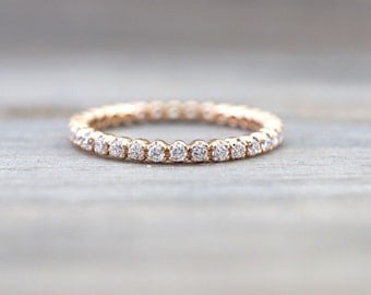 14k Rose Gold Eternity Diamond Vintage Milgrain Classic Full Eternity Band Ring Engagement Wedding