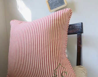 Custom Monogrammed Red Ticking Stripe Holiday or Christmas Pillow Cover w/Piping and Invisible Zipper and Gold Personalization