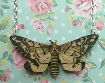 Vintage look cream moth butterfly necklace - wooden moth necklace nature festival moth jewellery silver plated chain E