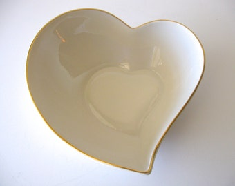 Vintage Lenox Heart Shaped Bowl / Cream Giftware Gold Trim / Keepsake Bowl / Home Decor