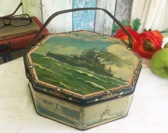Antique Navy Fleet Battleships Nautical tin Litho Box w/ handle, Loose Wiles Octagon, Sewing Lunch Basket, advertising, decor, Military