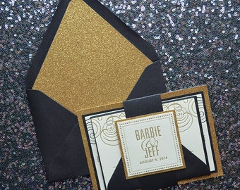 Black & Gold Glitter Wedding Invitation, Gold Glitter Wedding Invite, Gold Invitation, Monogram - Sample Set