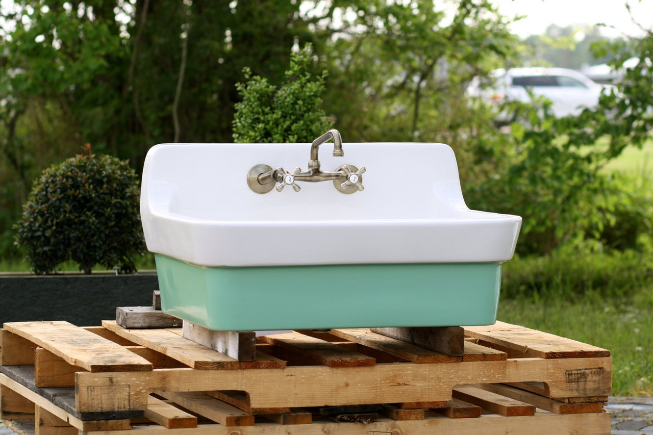 Arsenic Green Vintage Style High Back Farm Sink Original