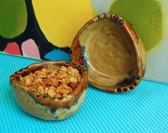 Small set of 2 prep bowls, ceramic ramekins, hand-built rustic pottery