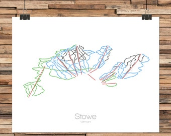 Stowe Vermont - Modern Ski Trail Map - Line Drawing